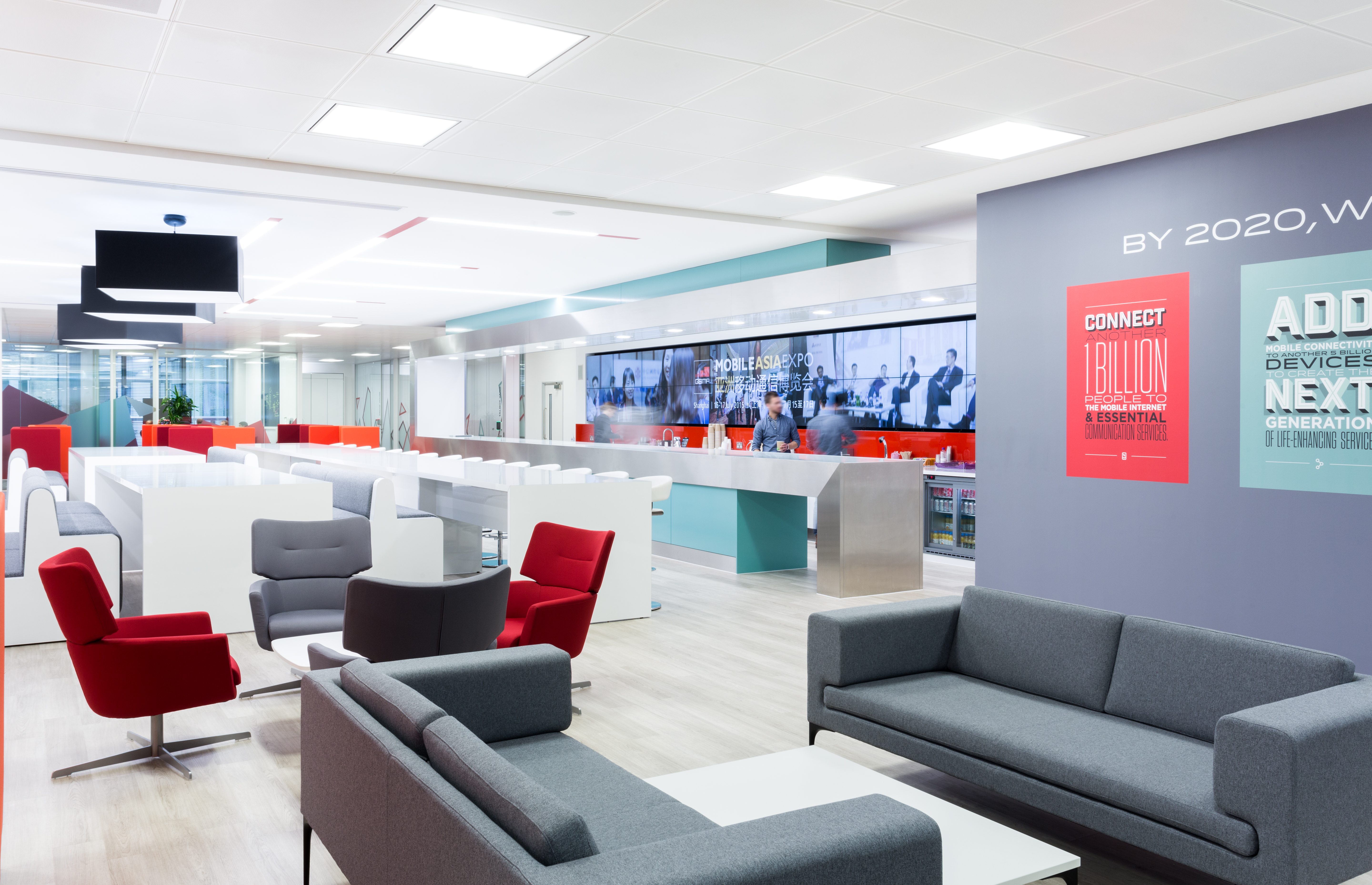 The interiors group fit out new headquarters for the gsma for Office design publications