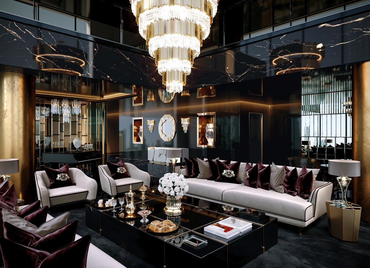 astonishing office interior design black gold   A Bold Project by the astonishing Celia Sawyer furnished ...